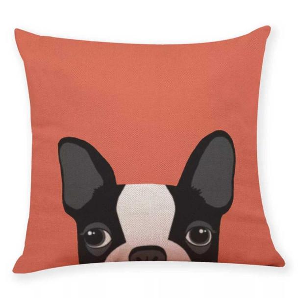"18""x18"" Black Boston Terrier Canvass Throw Pillow Case"