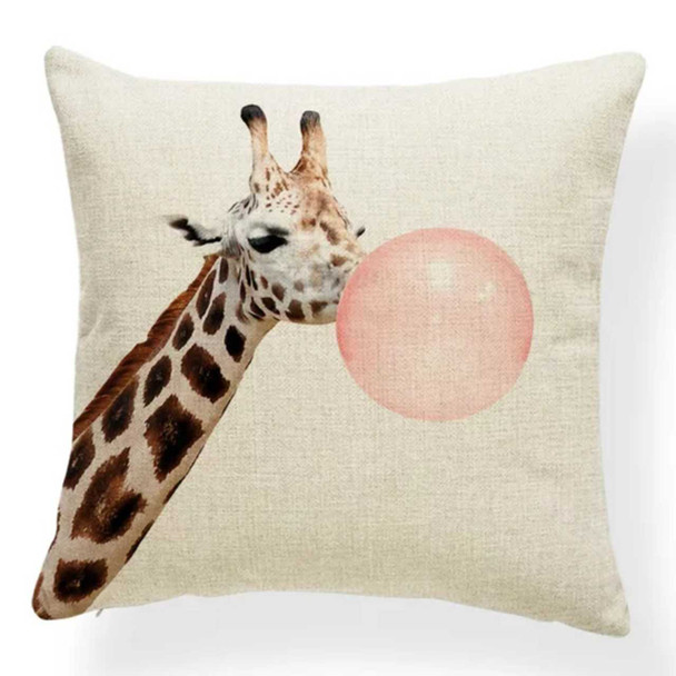 "18""x18"" Giraffe with Bubble White Background Canvass Throw Pillow Case"