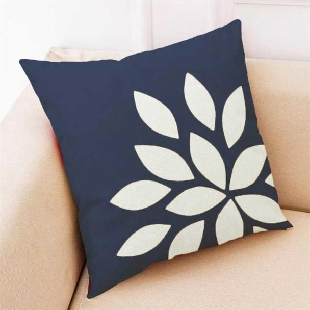 """18""""x18"""" Navy Blue Side Cut Out Petals Canvass Throw Pillow Case"""