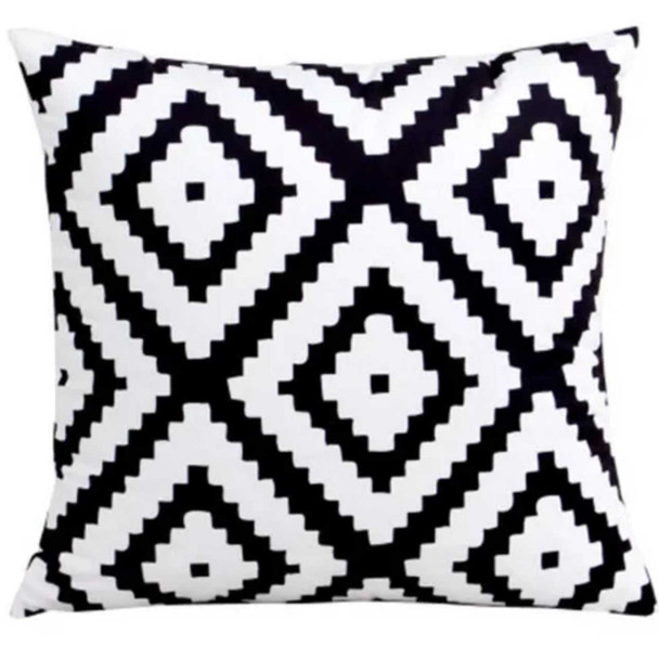 "18""x18"" Zigzag Diamond Canvass Throw Pillow Case"