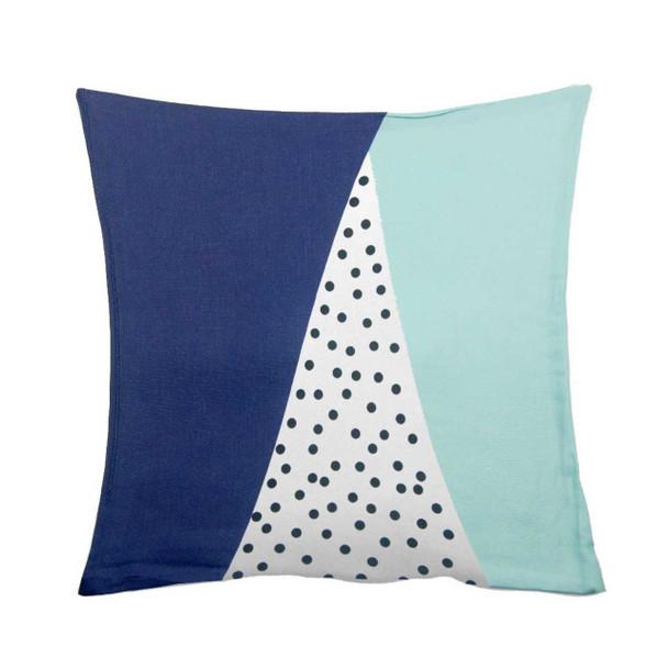 "18""x18"" Dotted Navy Blue Canvass Throw Pillow Case"