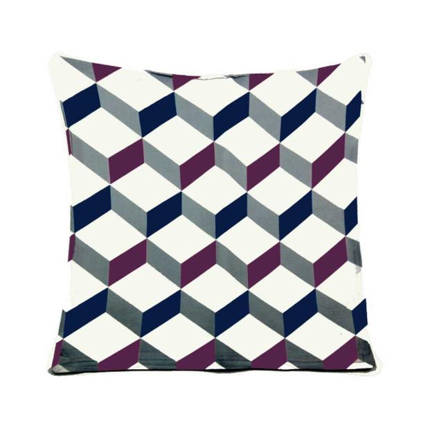 """18""""x18"""" Cubes Print Canvass Throw Pillow Case"""