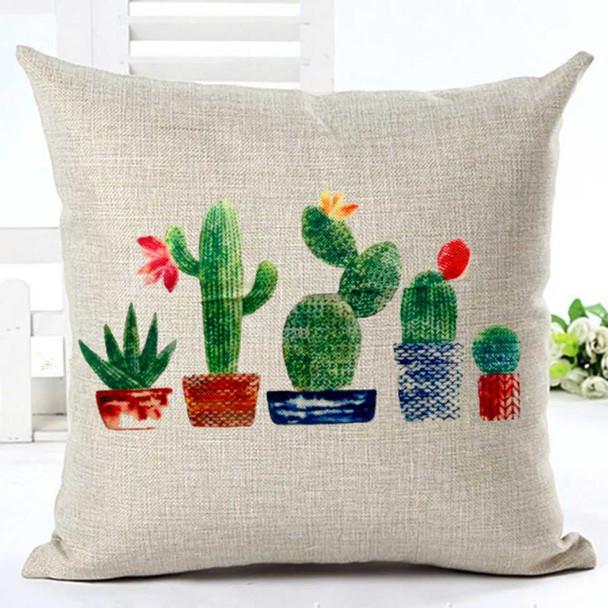 "18""x18"" 5 Cactus Canvass Throw Pillow Case"
