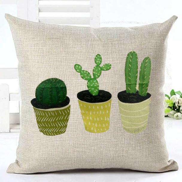 "18""x18"" 3 Cactus Canvass Throw Pillow Case"