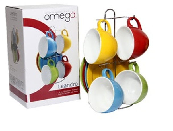 CS-Leandro  4PC set Cup and Saucer with Rack