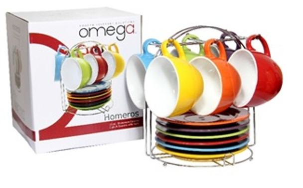 CS-Homeros  6PC set Cup and Saucer with Rack