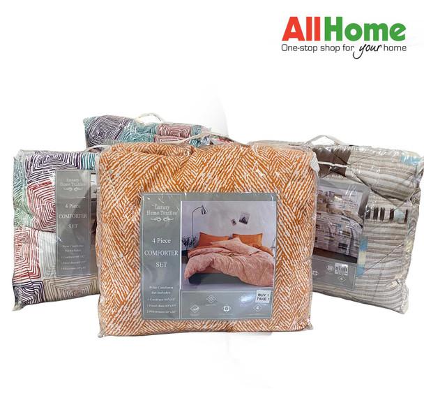 """Buy 1 Take 1 Luxury Home Textiles 4 Piece Comforter Set Assorted Design 84""""x92"""" Queen"""