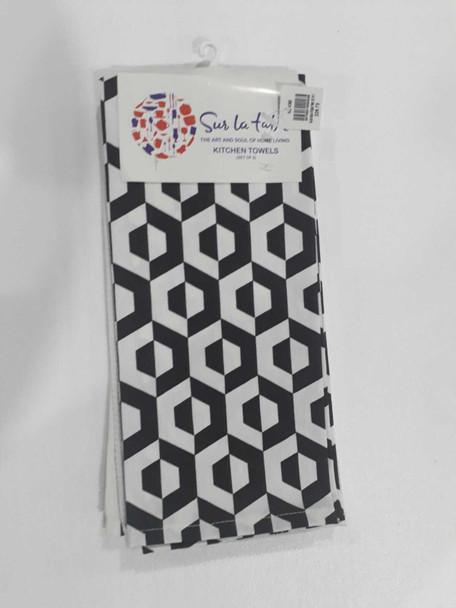 Black Hexa  Kitchen Towel Set of 3