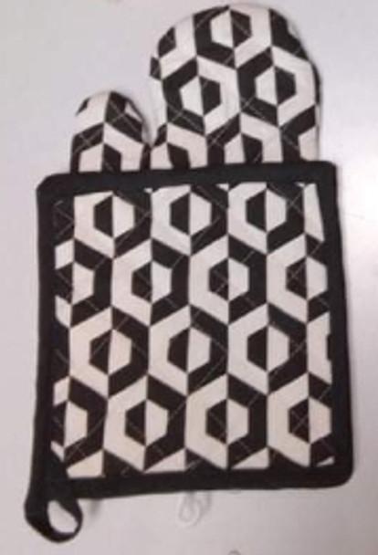 Black Hexa Gloves & Pot Holder Set