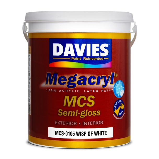 DAVIES MCS-0105 MEGACRYL LATEX SEMI GLOSS WISP OF WHITE 4L