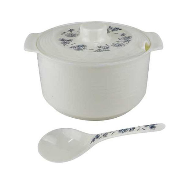 830SET Allison 8in Round Rice Bowl with Cover and serving Spoon