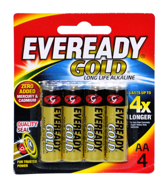 EVEREADY A91BP4 GOLD ALKALINE BATTERY AA 4S