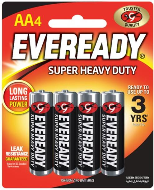 EVEREADY 1215BP4 SUPER HEAVY DUTY CARBON ZINC AA 4S