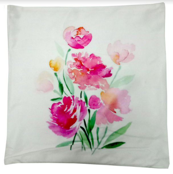 """18""""x18"""" Painted Flowers  Suede Throw Pillow Case"""