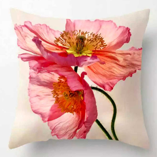 """18""""x18"""" Peony Flower  Suede Throw Pillow Case"""