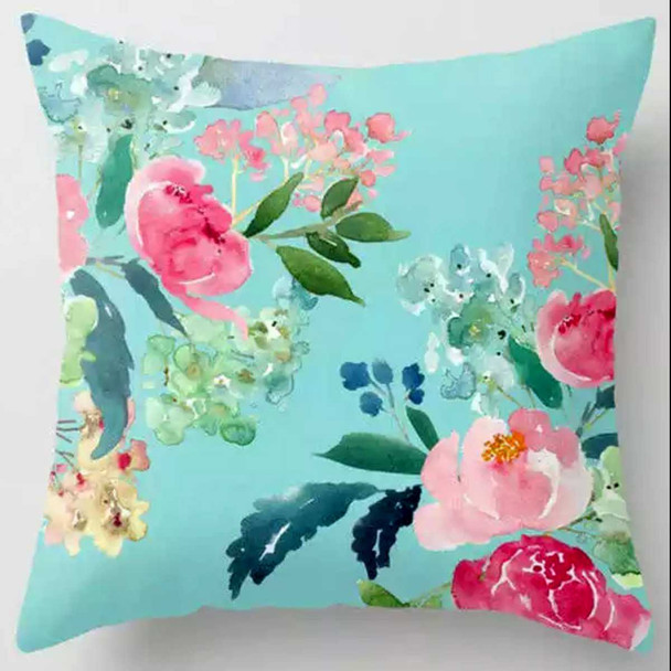 "18""x18"" Flowers Suede Throw Pillow Case"