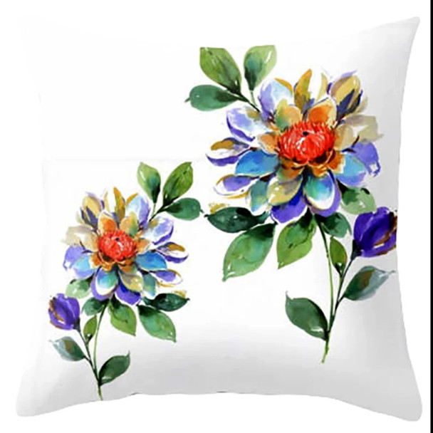 "18""x18"" 2Flowers Suede Throw Pillow Case"