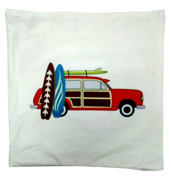 """18""""x18"""" Car with Surf Board  Suede Throw Pillow Case"""