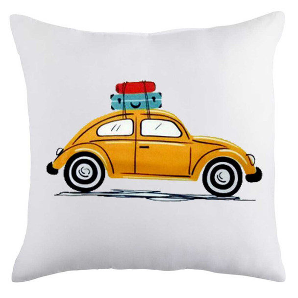 """18""""x18"""" Beetle Car with Luggage   Suede Throw Pillow Case"""