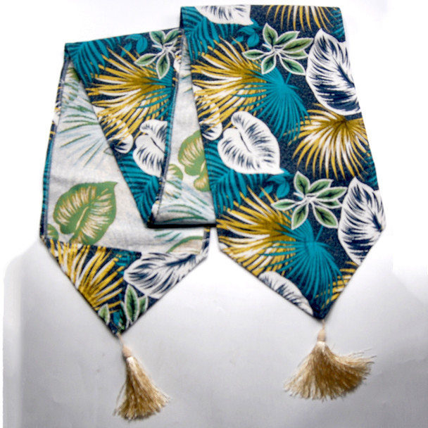 6-8 SEATERS BLUE  GREEN THICK CANVASS FERN LEAVES TABLE RUNNER WITH TASSEL