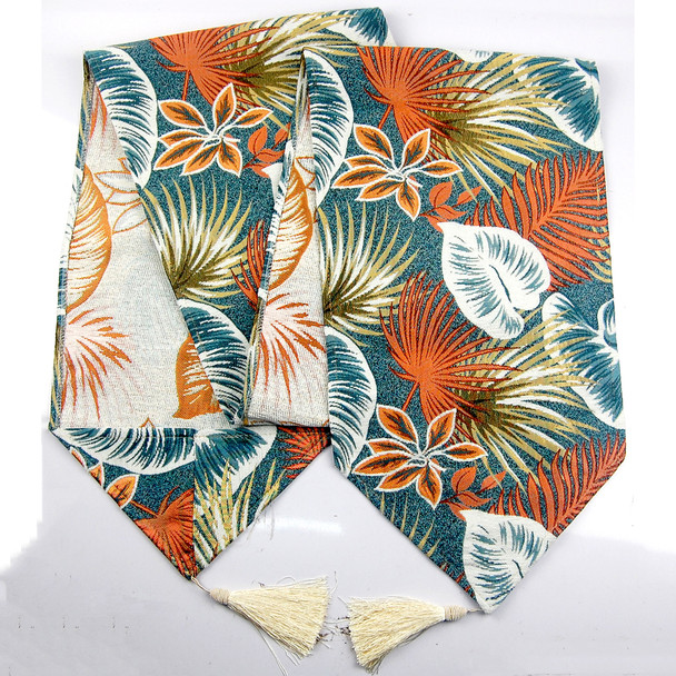 6-8 SEATERS ORANGE THICK CANVASS FERN LEAVES TABLE RUNNER WITH TASSEL
