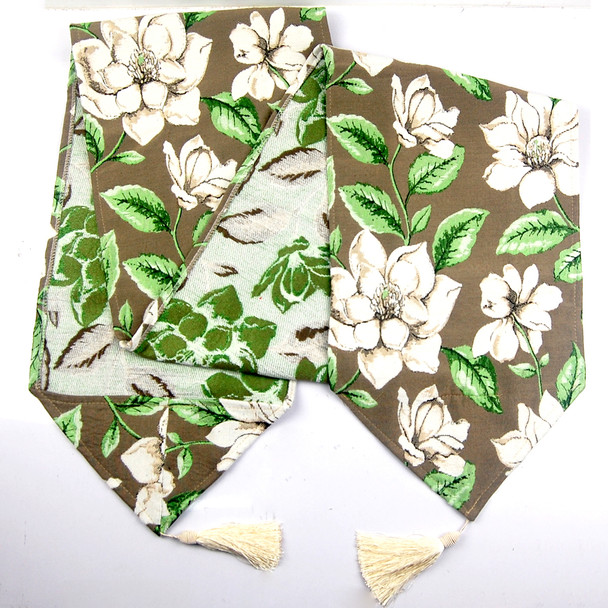 8-10 SEATERS LIGHT BROWN THICK CANVASS FERN LEAVES TABLE RUNNER WITH TASSEL