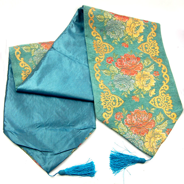 33X220CM 8-10 SEATERS BLUE FLOWER1 TABLE RUNNER WITH LINING