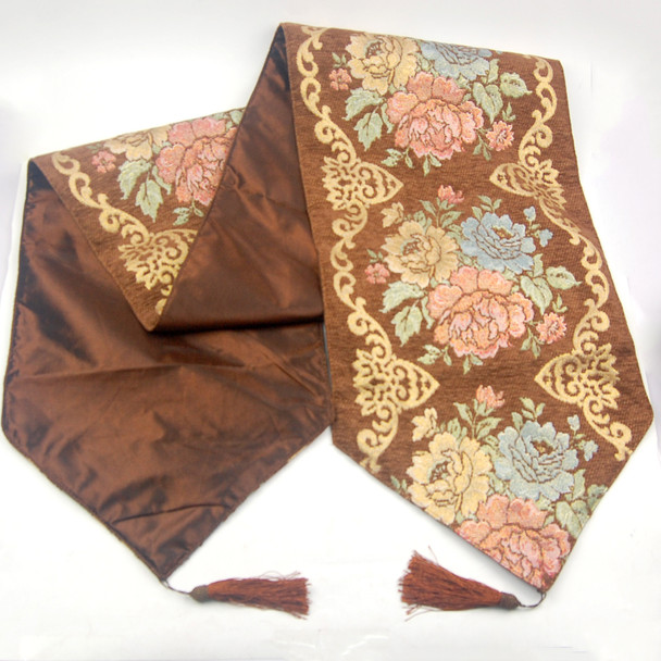 33X180CM 6-8 SEATERS BROWN FLOWER1 TABLE RUNNER WITH LINING