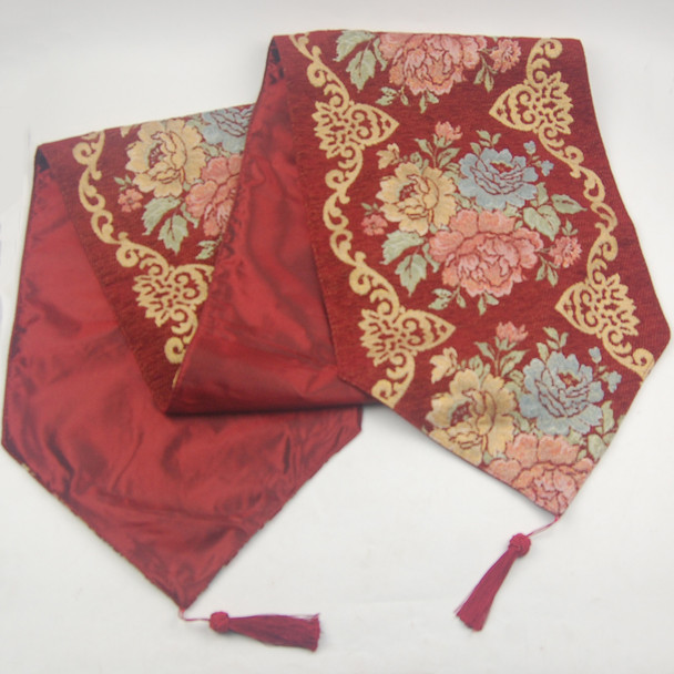 33X135CM 4-6 SEATERS RED FLOWER1 TABLE RUNNER WITH LINING