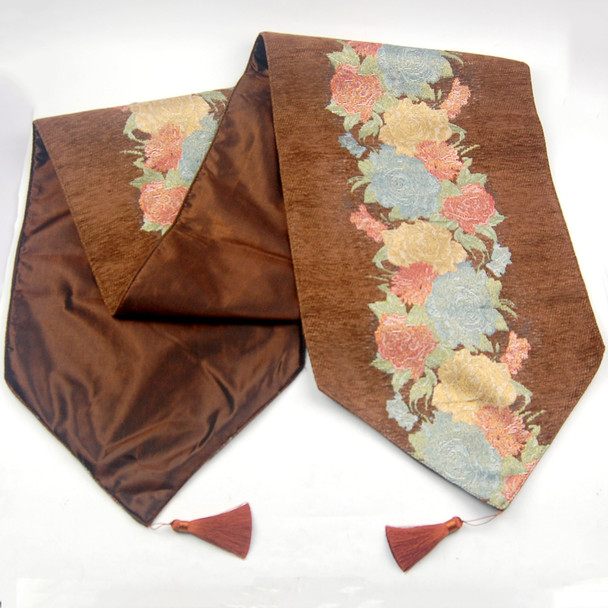 33X180CM 6-8 SEATERS CHOCO FLOWER2 TABLE RUNNER WITH LINING