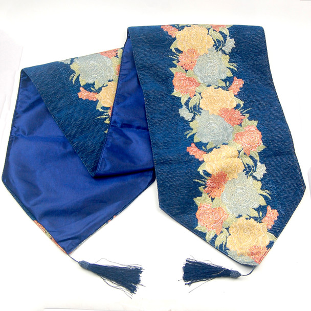 33X135CM 4-6 SEATERS BLUE FLOWER2 TABLE RUNNER WITH LINING