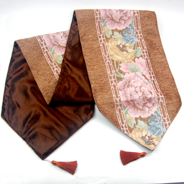 33X135CM 4-6 SEATERS BROWN FLOWER3 TABLE RUNNER WITH LINING