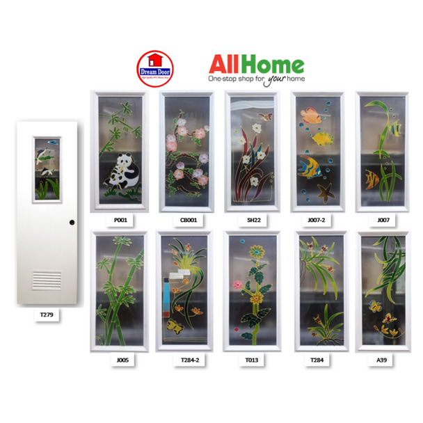 DREAMDOOR PVC Door & Jamb Set w/ Glass Design CB001 60x210cm 35mm thick