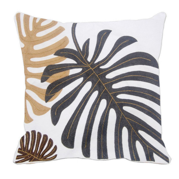 """17""""X17"""" GRAY MONSTERA W/ GOLD PIPING THROW PILLOW CASE"""