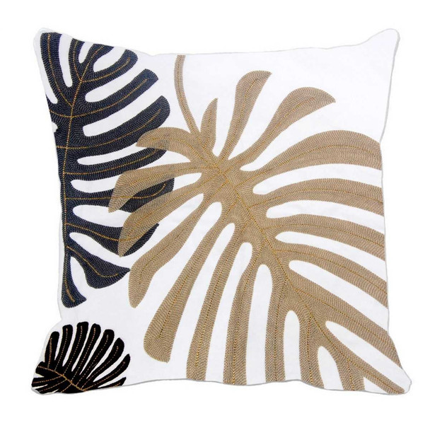 "17""X17"" BEIGE MONSTERA W/ GOLD PIPING THROW PILLOW CASE"