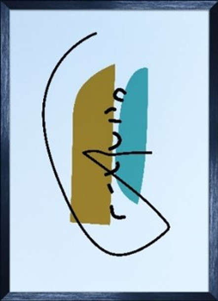 Canvass with Frame Abstract Forms C 20X28 SPGY057-BK-02