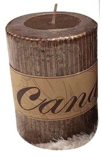 Decorative Pillar Candle Mettalic Brown Small