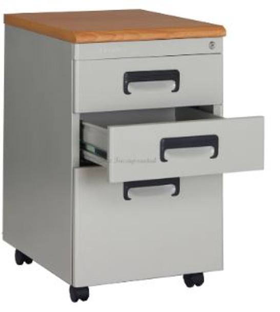 Elexa Wasil Mobile Cabinet Wood Top Gray