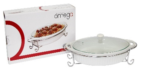 CB-MAJESTIC OVAL CERAMIC BAKEDISH WITH LID & HANDLE 1.5L