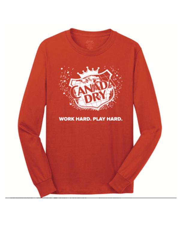 HI VIZ Orange Long Sleeve Canada Dry t-shirt