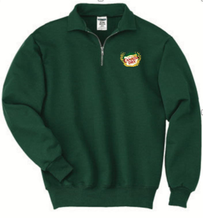 Green 1/4 Zip Sweatshirt with Canada Dry logo