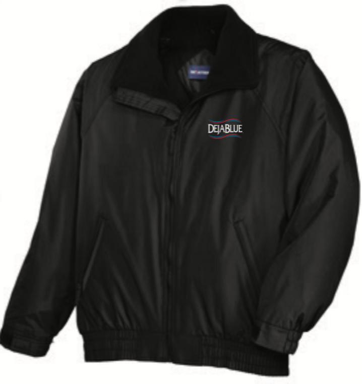Black Competitor Jacket with Deja Blue Logo