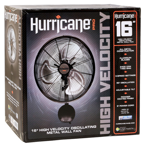 Hurricane® Pro High Velocity Oscillating Metal Wall Mount Fan 16 in
