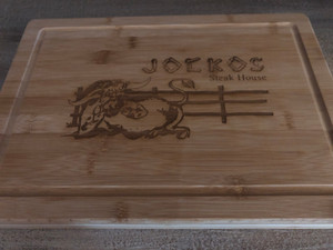 Jocko's engraved bamboo cutting board