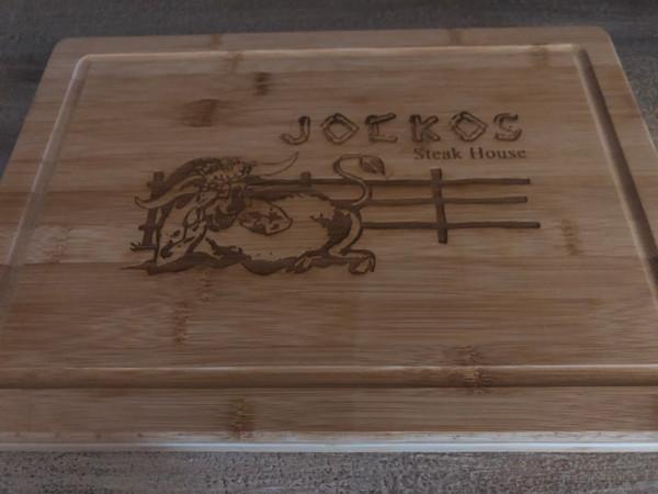 Jocko's engraved bamboo cutting board