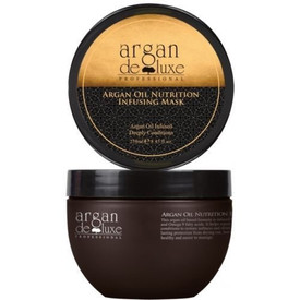 Argan Oil Infused  Deeply Conditions This argan oil mask is infused with Vitamin E, Omega 3 and Omega 9 fatty acids. It helps repair the hair and deeply conditions to restore softness and shine, giving the hair long lasting protection from drying out, leaving it extraordinarily healthy and easier to manage. Directions: Apply proper amount of the argan oil mask to towel-dried hair and massage through from roots to ends. Wait for 5 -10 minutes and rinse thoroughly.