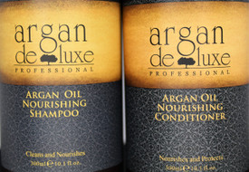 Argan Deluxe Professional Moroccan Oil Nourishing Shampoo Sulfate Free This Argan Oil shampoo gently cleanses the hair fiber, provides softness and detangles.  Hair is nourished with Vitamin E, Omega 3 and Omega 9, and looks healthy and shiny from roots to ends. 10oz.  Argan Deluxe Moroccan Oil Ultra Hydrating & Nourishing Conditioner This Argan Oil conditioner provides instant nourishment, delivers shine, softness and suppleness to the hair. Fiber is protected against dryness and environmental damage. 10 oz.