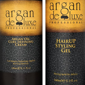 Argan Deluxe Hairup Styling Gel This hydrating strong hold and long-lasting styling gel for smooth and structured looks.  HairUp Styling Gel helps set in styles from smooth straight to voluminous body for  both wet and dry styles. It's argan oil-infused formula offers flexible control, with an ultimate shine and no build up or flaking.  Directions: Squeeze on damp hair to set, sculpt tame or twist a fearless finish. Apply to dry hair for ultra-hold and control. 5 oz.  Argan Deluxe Professional Curl defining Cream applies the latest Curl Memory Technology which softens the hair fiber, detangles and fights against heat and humidity damage. The Argan oil conditioning agents penetrate into the inside of hair quickly, revives elasticity and health, leaving hair extremely supple and flowing. -Curl Memory Technology -Revives Elasticity Directions: Apply proper amount to towel-dried or dry hair, focusing on mid-lengths and ends. Style as usual. 10oz.