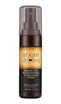 Refreshing & Shining  UV Resistant The argan oil spray forms a layer of refreshing and non-greasy film that makes hair look conditioned and super shiny, and protects hair from full-spectrum UVA/UVB and other environmental damages.  Directions: Shake the oil spray well before use. Spray onto damp or dry hair with an even, all-around motion.