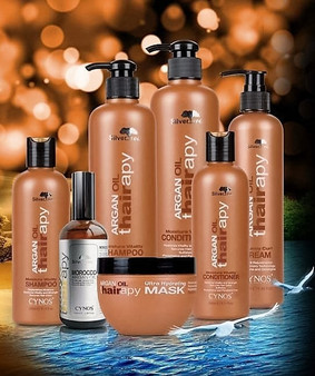 Argan Thairapy Luxury Bundle Luxury Bundle Package.  Let the hair feel the difference. Buy Now and Save. Bundle Includes: Nourishing Shampoo  16 oz. Nourishing Conditioner 16 oz. Infusing Nutrition Mask 8 oz. Bouncy Curl Cream 9 oz. Shine Spray & Frizz Control 8 oz.